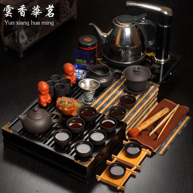 طقم شاي خاص ، صينية فرن كهرومغناطيسية ، إبريق شاي سيراميك خشبي ، كوب كونغ فو بنفسجي