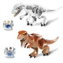 Grote 2 stks/set Jurassic Park Dinosaurussen Wereld Tyrannosaurus Cartoon Gemonteerd Speelgoed Model Bouwstenen Gift voor Kids