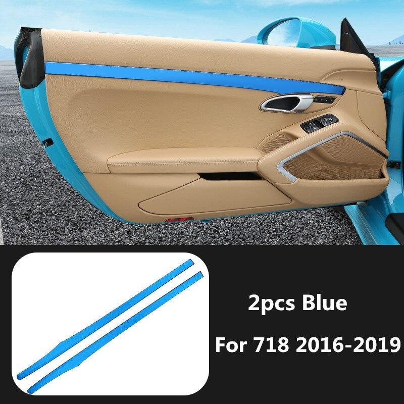 2pcs Impresso Etiqueta Styling Moulding Guarnição Interior Painel Da Porta De Fibra De Carbono para Porsche 718 2016 2017 2018 2019 Acessórios