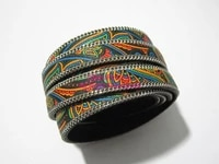 10mm flat ethnic leather cord 10x2mm dark mixed ethnic leather cord