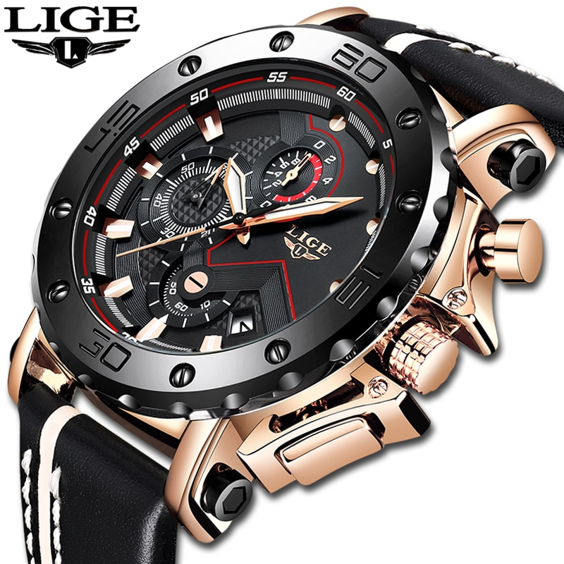 2020LIGE New Fashion Mens Watches Top Brand Luxury Big Dial Military Quartz Watch Leather Waterproof