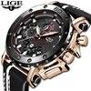 ליגע חדש יוקרה מותג גברים אנלוגי עור ספורט שעונים גברים של צבא צבאי עמיד למים שעון זכר תאריך קוורץ שעון Reloj hombre