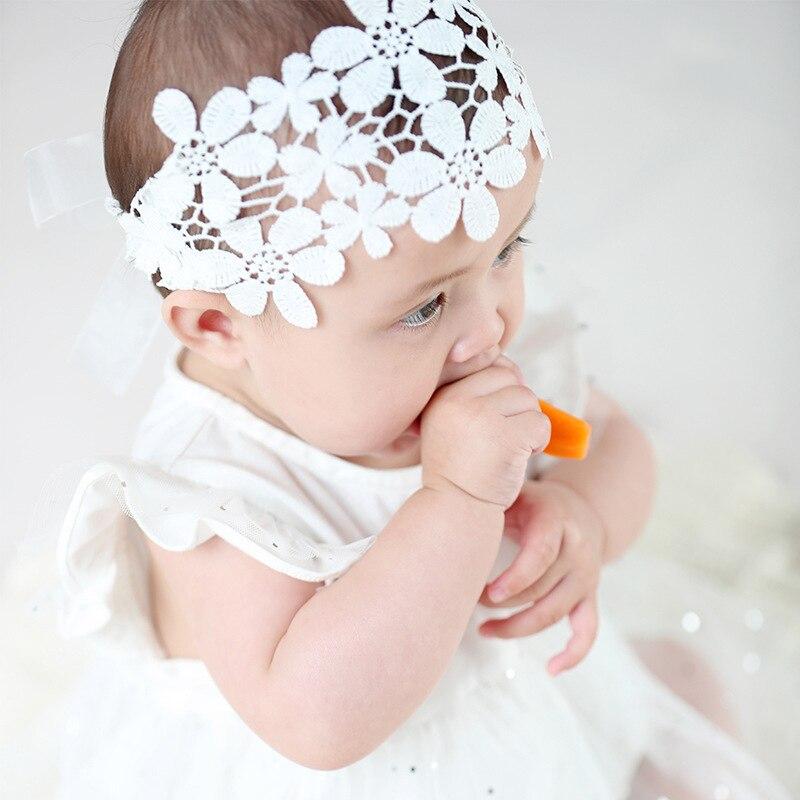 Nova flor do bebê cabeça banda princesa elástica crianças acessórios para o cabelo festa de aniversário infantil bebê bandana rosa/branco