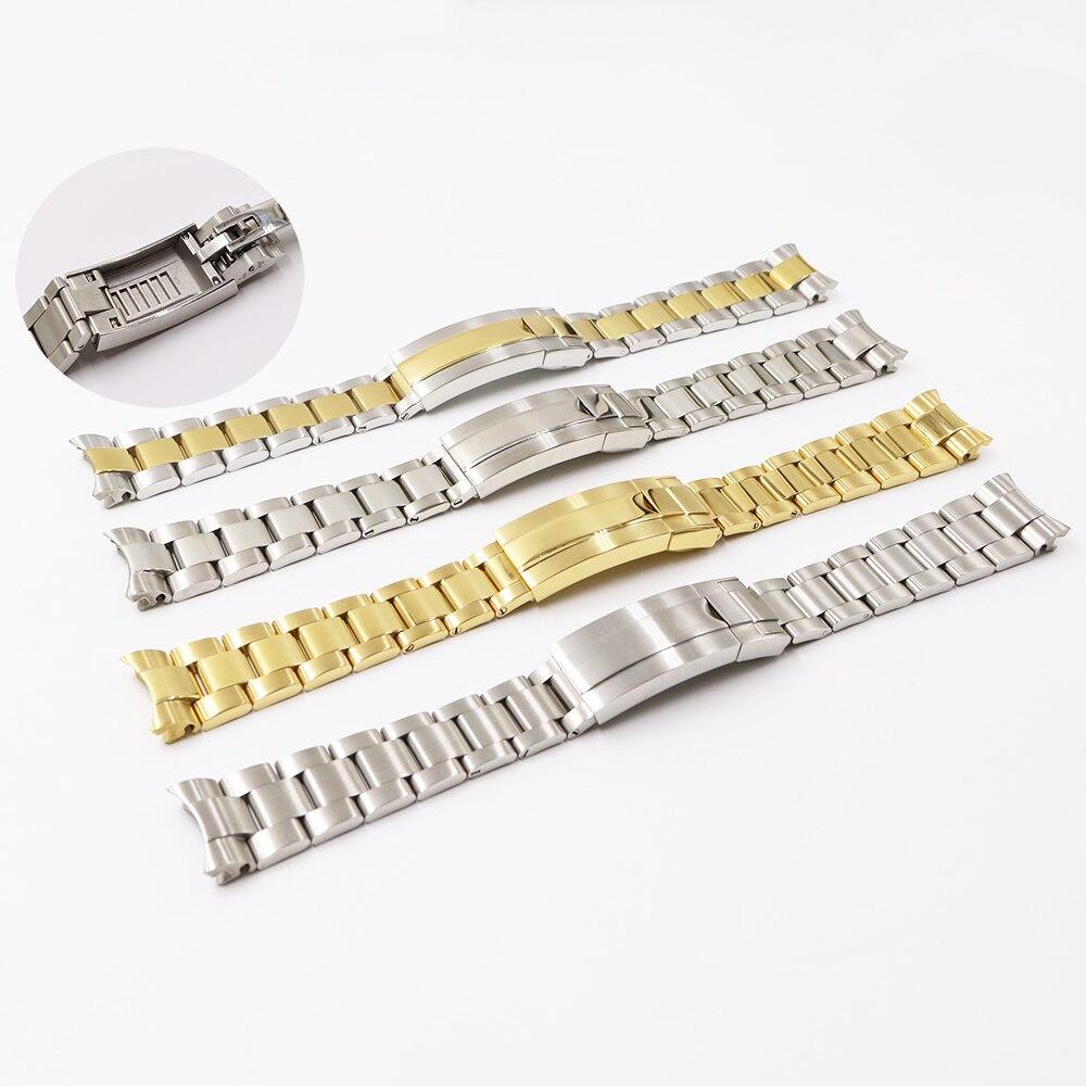Ремешок для часов CARLYWET, 20 мм, двухцветный, золотистый, серебристый, с закругленными концами, с застежкой, для часов