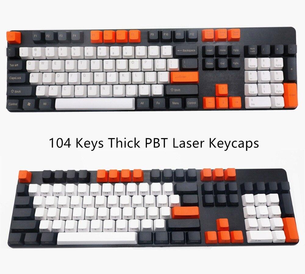 Teclas gruesas PBT de carbón de 104 teclas, teclas láser Keycap Set Top Lado impreso, teclas impresas para teclado mecánico Cherry MX