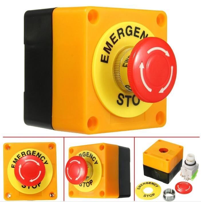 Interruptor de botão do cogumelo da parada de emergência do sinal vermelho do escudo plástico da c.a. 660 v 10a