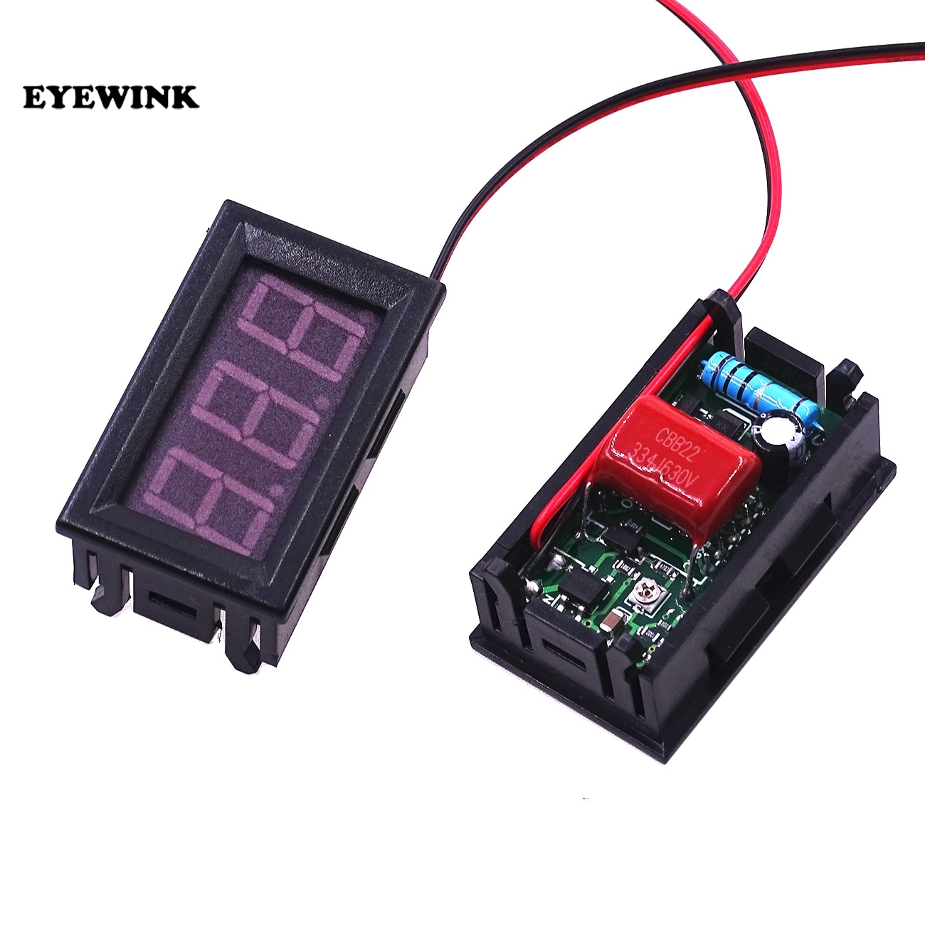 Voltmètre numérique ca 70V à 500V 0.56 pouces LED panneau numérique 2 fils Volt mètre testeur de tension rouge/vert/bleu moniteur