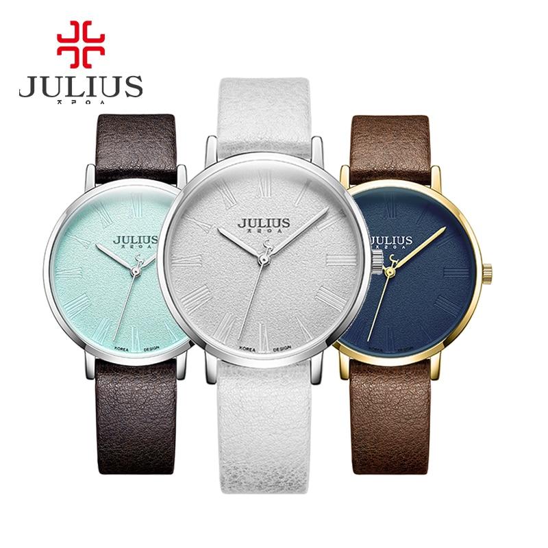 New Womens Watch Japan Quartz Big Hours Simple Fine Fashion Dress Leather Bracelet Girl Retro Birthday Gift Julius Box