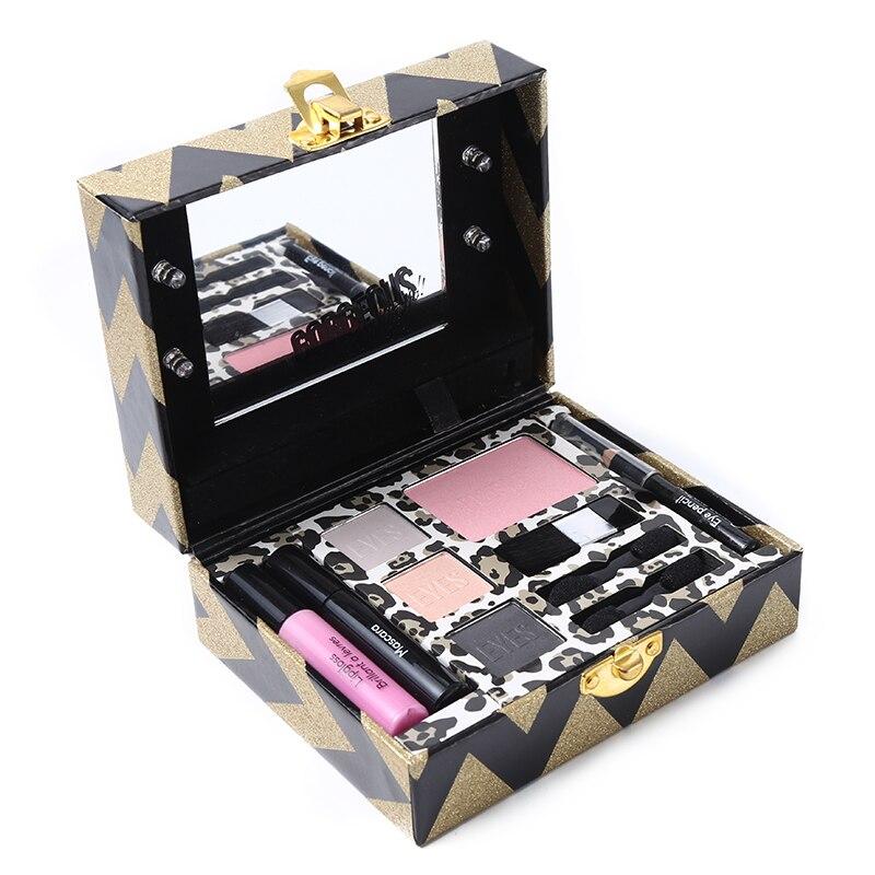 Набор для макияжа Miss Rose, палитра для макияжа, мерцающие матовые тени для век, румяна для лица, блеск для губ, карандаш для глаз с светящимся зеркалом, косметический инструмент