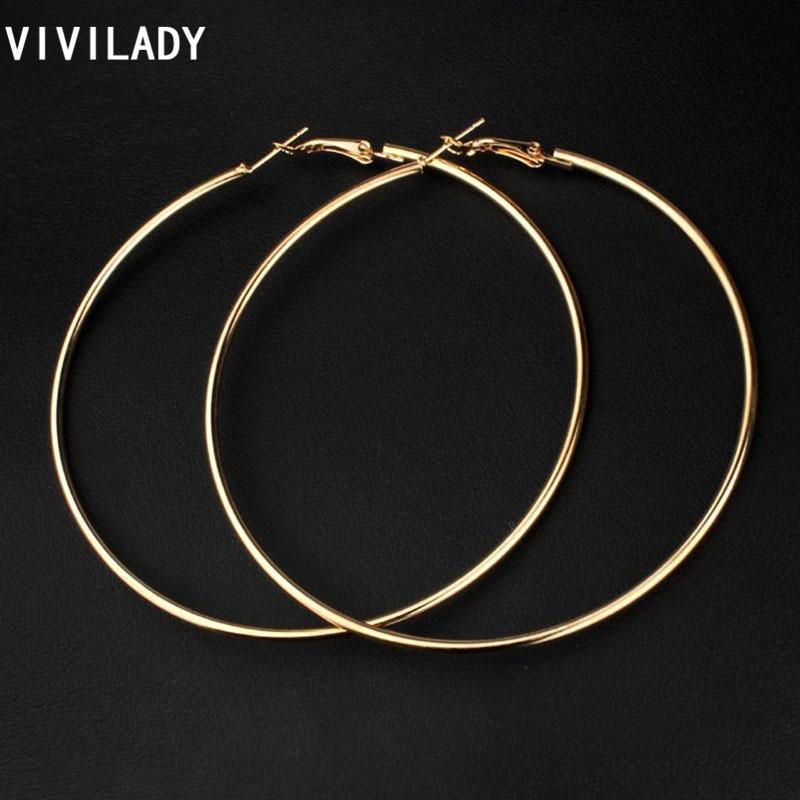 ¡Nuevo! VIVILADY pendientes De 8cm De aro grande, pendientes De mujer De Color dorado, joyería De moda, accesorio De bisutería, regalo De cumpleaños