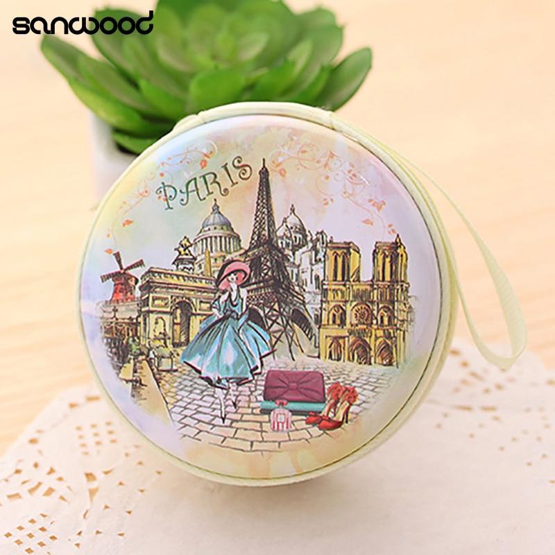 Портативный милый круглый чехол-бумажник с рисунком из мультфильма «Эйфелева башня», держатель для ключей, сумка