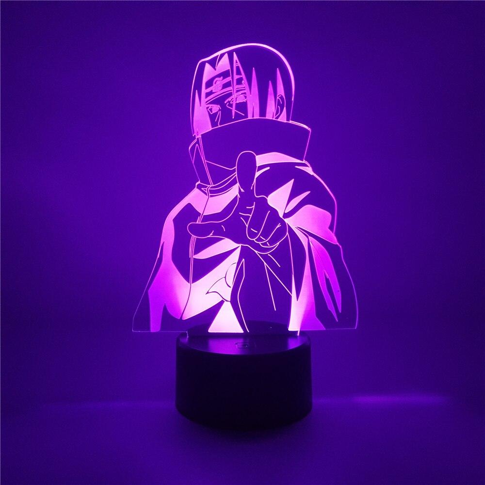 Figura anime uchiha itachi naruto figura led 3d night light 7 cores acrílico naruto figurinhas led lâmpada de mesa decoração para casa crianças presente