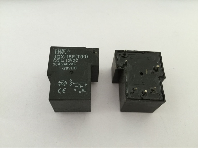 2PCS JQX-15F (T90) DC12V small electromagnetic relay 30A PCB power Mini relay