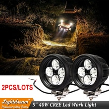 Par de luces Led de trabajo de 5 pulgadas 40W 4Chips 12V 24V luz led de conducción redonda 40W faro delantero Led usado para coche suv envío gratis