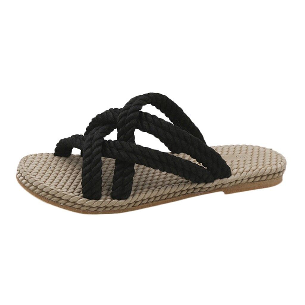 Zapatillas JAYCOSIN tejidas de paja de cáñamo Roap con tiras cruzadas, zapatillas de mujer de talla grande con agujeros, planas, negras, beige, informales, para la playa