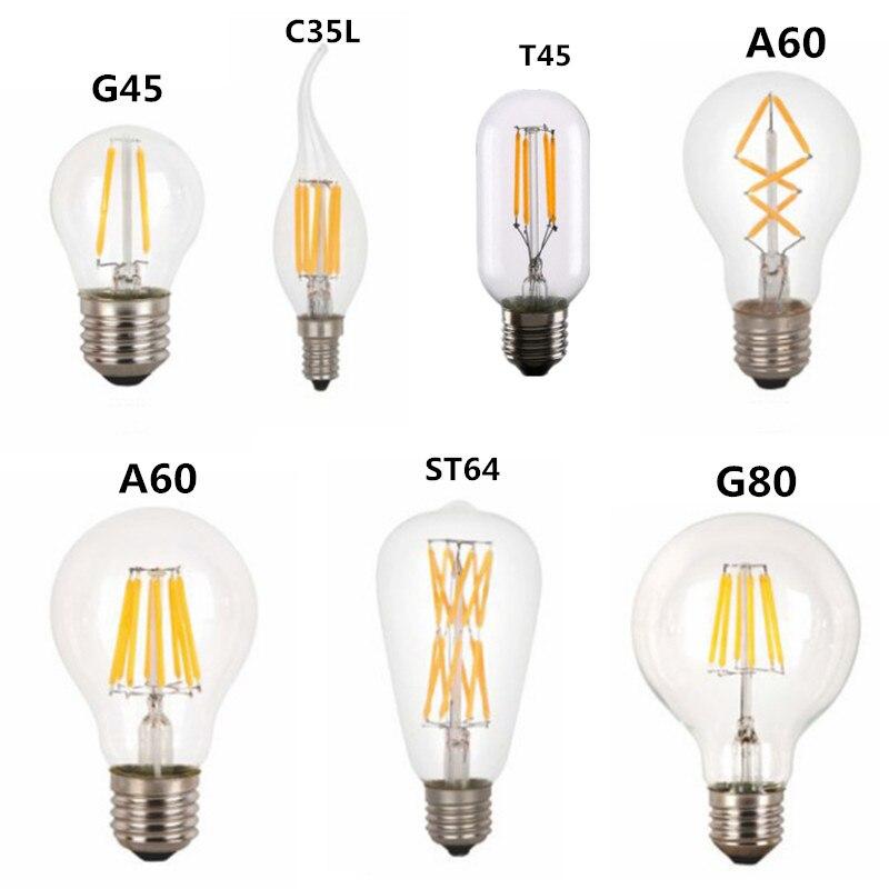 Светодиодная лампа накаливания T45 ST64 G80 A60 C35, 2 Вт 4 Вт 6 Вт 8 Вт E27 B22 с регулируемой яркостью 110 В 22 в, Ретро Винтажные лампы, декоративное освещение