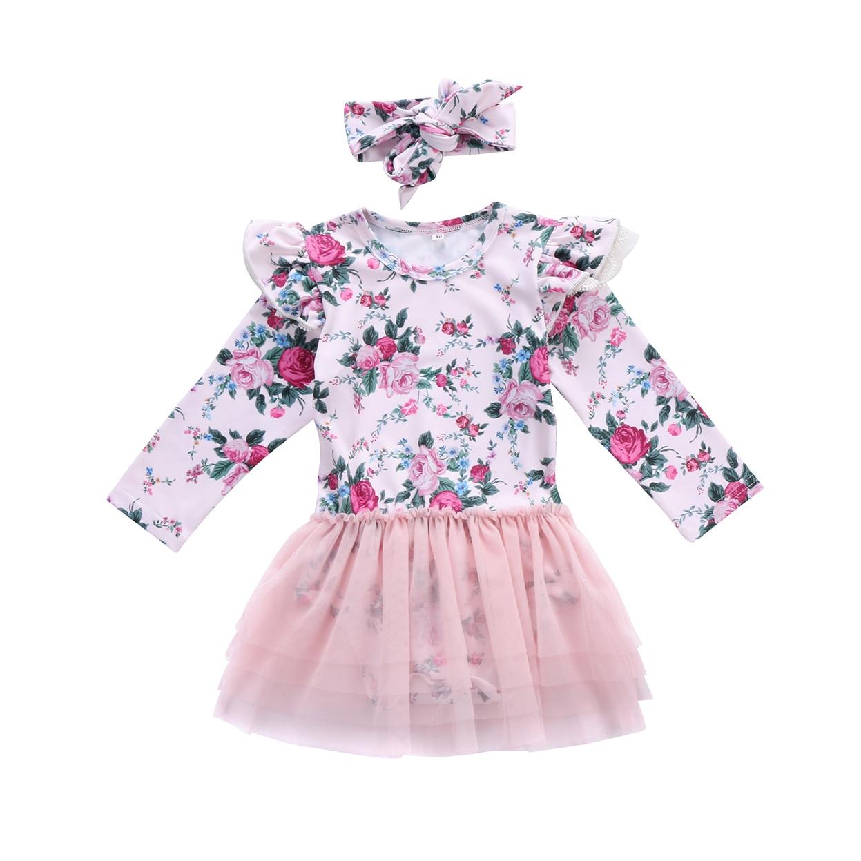 2018 recién nacido bebé niñas traje Floral encaje desfile vestido + diadema Conjunto 2 piezas tamaño 0-24 M