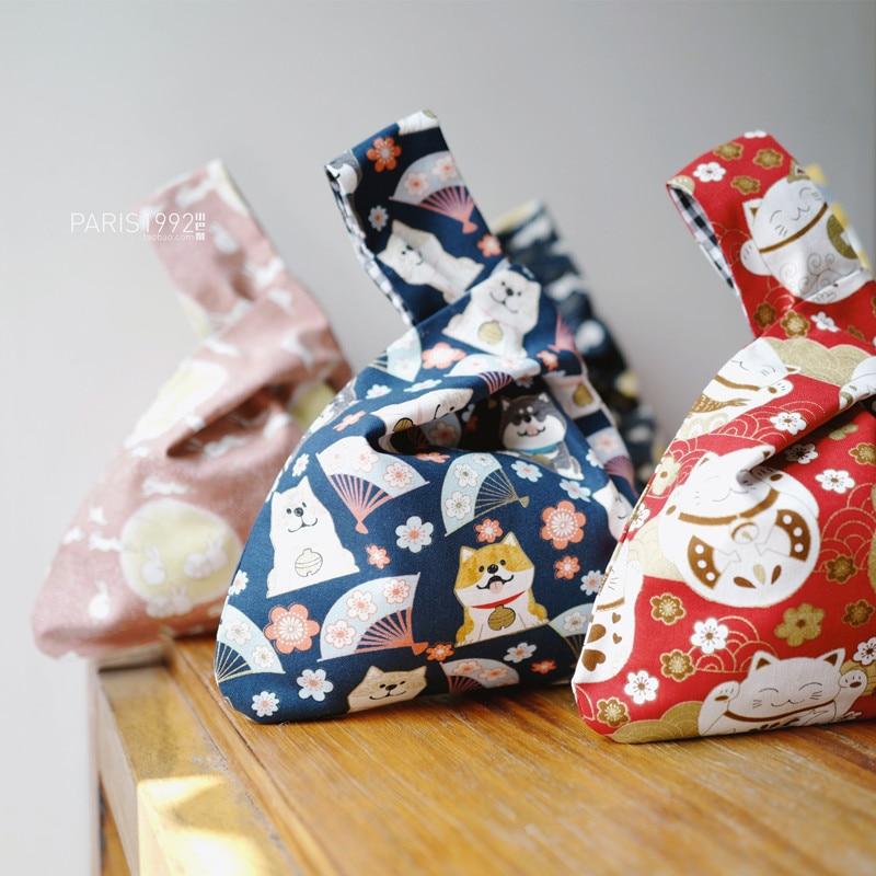 Japanese retro handbag wristband bag Shiba Inu Lucky Cat Drawstring Bag handbag  Sundries bag phone key bag