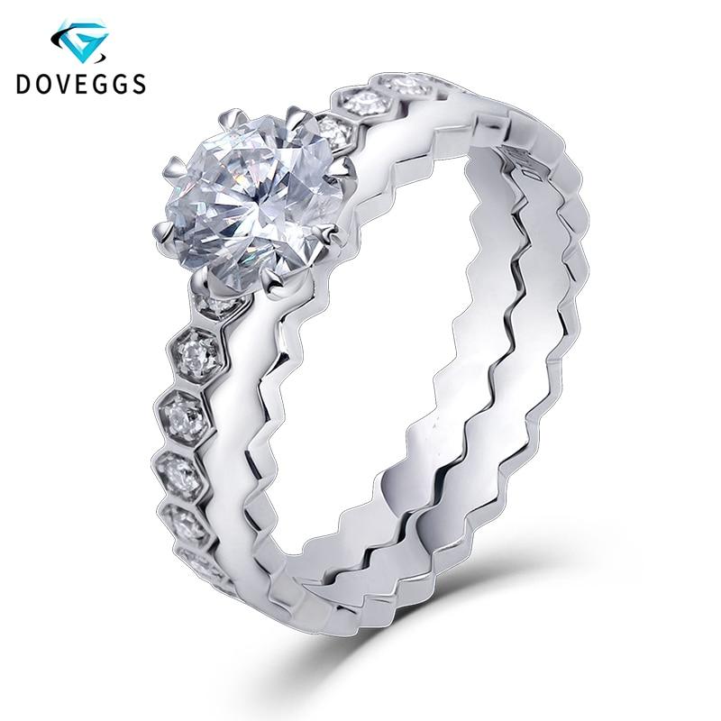 DovEggs Center, 1 Ct de quilates, 6mm, corte Octangle, Color F, Moissnaite, 14 K, conjunto de anillos de compromiso nupciales de oro blanco para mujer, regalo de boda