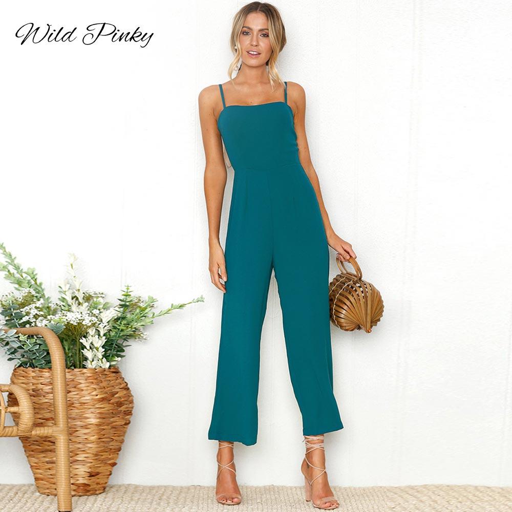 WildPinky Strap Backless Jumpsuits Rompers Elegant Solid OL Office Ladies Summer Romper Black Women Jumpsuit Playsuits Overalls