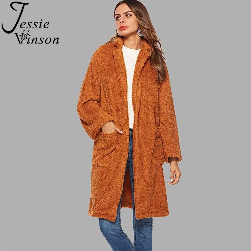 Jessie Vinson Turn-down Collar Pocket Fleece Faux Fur Coat Women Winter Thick Warm Fleece Long Cardigan Coat Female Outwear