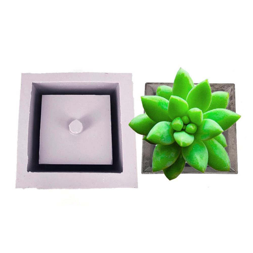 7.3cm*7.3cm Square Ceramic Clay Handmade Flower Pots Mold DIY Concrete Planter Silicone Mould for Home Decoration Desktop Crafts