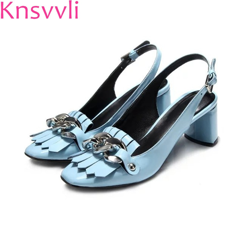 Knsvvli karree Quaste Silber Kette 6 CM High Heels Pumps Schuhe Frau Blau Schwarz Patent Leder Chunky High heel schuhe