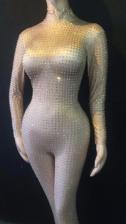2 Style Flashing Silver Rhinestones Jumpsuit Women's Birthday Celebrate Luxury Outfit Nightclub Women Singer Dance Outfit Romper
