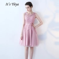 its yiiya cocktail dress little appliques beading pink wedding formal dresses flowers illusion knee length party gown lx073 2