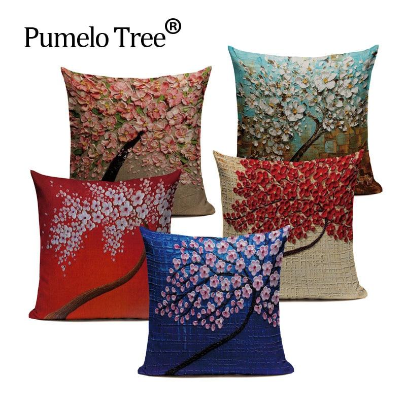 Наволочка на подушку с винтажным цветком, Наволочка на подушку с изображением желтого и красного дерева, Wintersweet Cherry Blossom, декоративная наволочка на подушку для дома