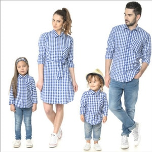 Mother Father Daughter Matching Clothes Long Sleeved Shirt Mum Son Outfits Dress Family Look Plaid Clothing for Children Outwear