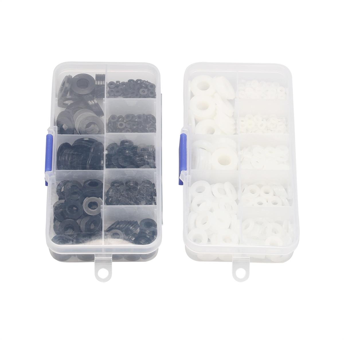 500 uds, plástico negro/blanco, Nylon M2 M2.5 M3 M4 M5 M6 M8, arandela plana chapada, espaciador, sellos de arandela, Kit de juntas