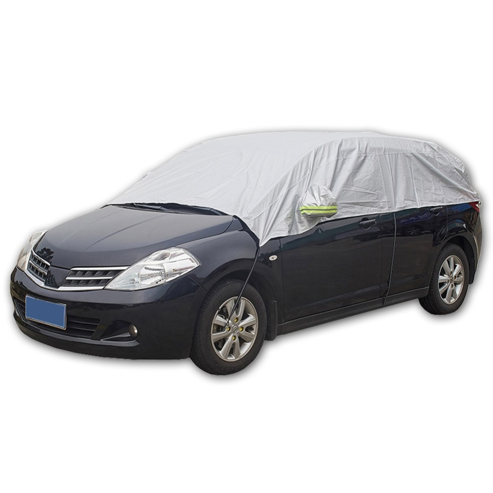 Half Car Cover Sun UV Snow Dust Rain Resistant Durable Covers 3.2Mx1.75M Automobile Accessories For