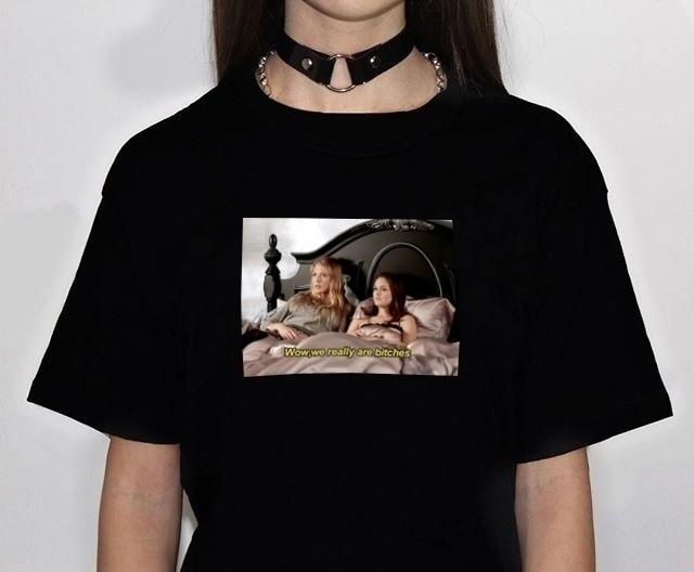 Reina-XSX realmente son perras Blair Serena divertido T camisa de las mujeres de algodón de manga corta cuello redondo Camiseta Tops