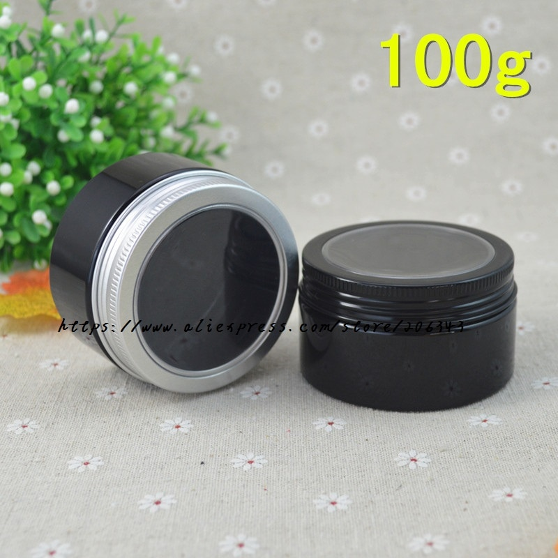 100G black  PET  jar /pot/bottle with window lid inner lid for cream/mask cream/body scrub/moisturizer/essence cosmetic packintg