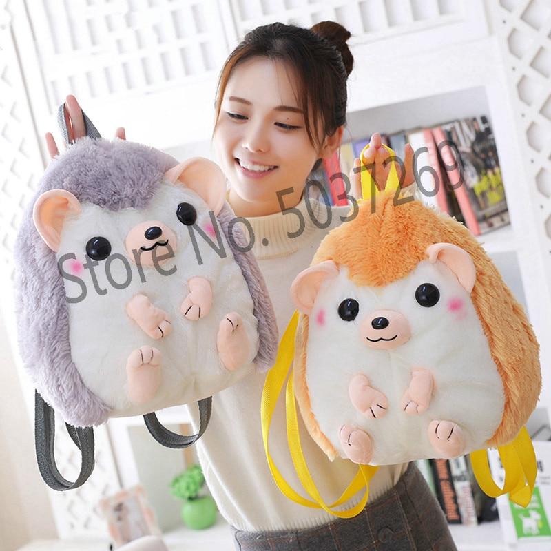 30*28cm Cute Hedgehog Plush Toy Doll Kawaii Animal Backpack Stuffed  Children School Bag Gift Kids Toy For Girl
