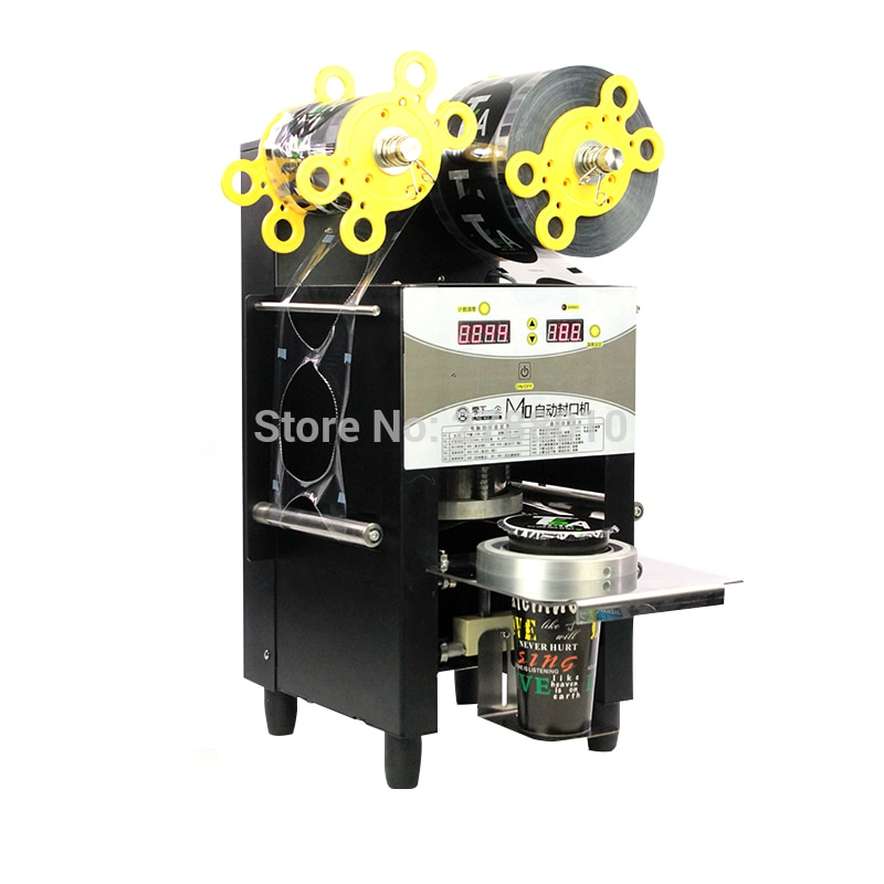 370W Semi-automo Cup Sealing Machine 95mm/90mm Electric Bubble Tea Milk/Coffee Packing Sealer Pressure Paper/Plastic Cup Lid M10