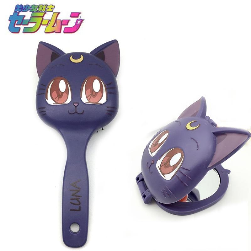 sailor moon luna cat hair comb hair brush make up comb mirror cosmetic mirror Accessories set