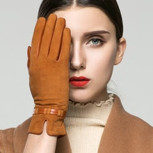 KLSS Brand Genuine Leather Suede Women Gloves Autumn Winter Plus Velvet Fashion Elegant Lady Goatskin Glove For Driving 96