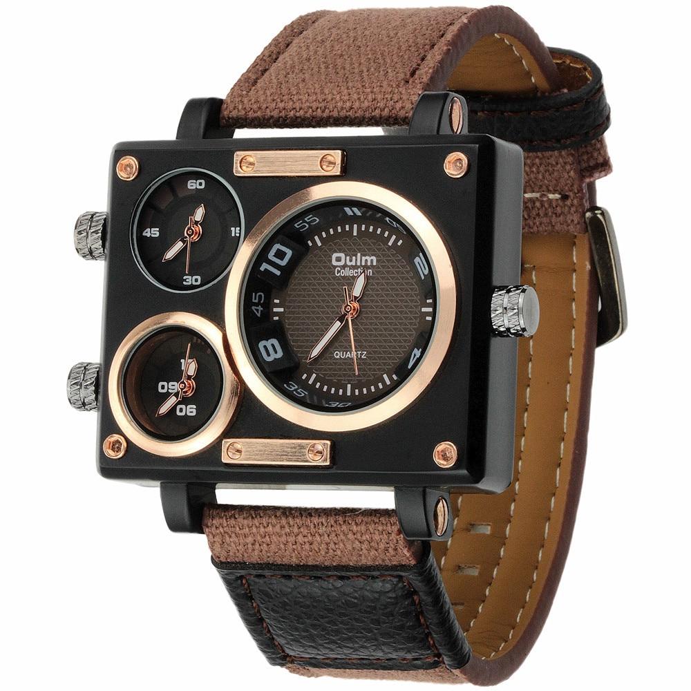 Luxury Quartz Watch Brand Rectangle Men Quartz Dress Fashion Watch Oulm 3595 Three Time Zone Canvas Strap Relogio Masculino