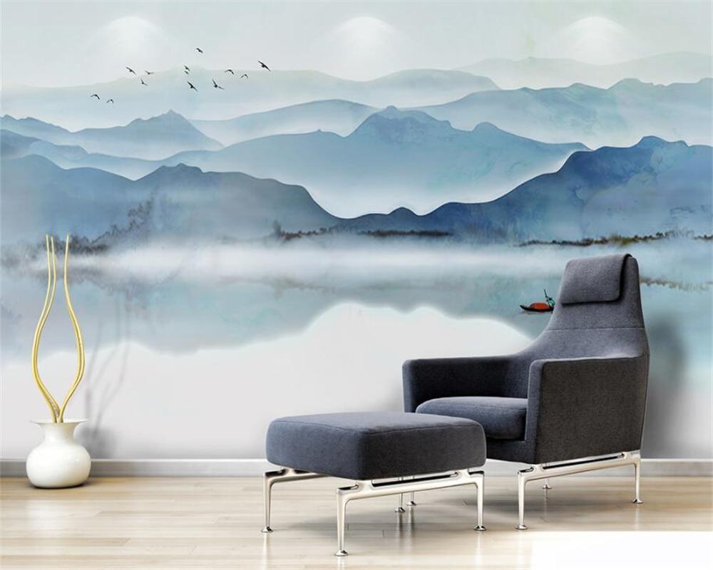 Beibehang 3d papel de parede personalizado sala estar fundo 3d vento humor tinta paisagem foto mural