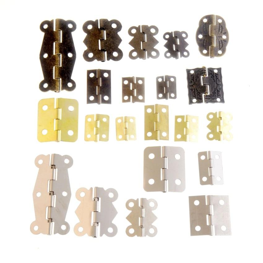 10Set Gold/Silver/Bronze Door Hinges Cabinet Drawer Jewellery Box Decorate Hinge For Furniture Hardw