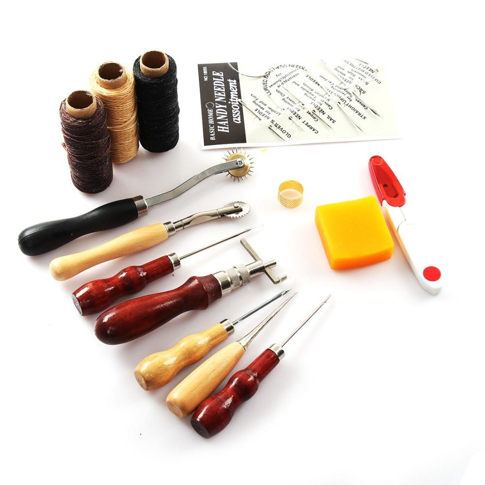 14 Pcs Conjunto Ofício Costura a Mão de Couro Ferramentas DIY Fio Encerado Corda Dedal Agulhas de Costura Furador Handwork Kits T0.2