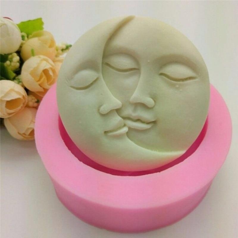 1 ud. Molde de pastel Rosa forma redonda Sun Moon caras molde de silicona DIY Fondant Chocolate jabón torta herramientas de decoración Kithen herramienta de hornear