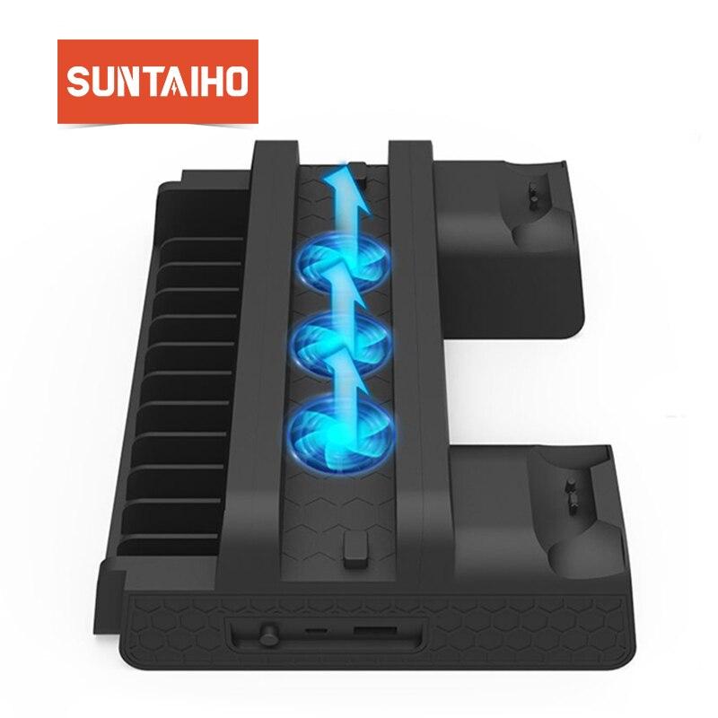Suntaiho para PS4 Slim Pro consola enfriador soporte 2 cargador de controlador 3 consola ventilador de refrigeración soporte estación-Estación Dock para Playstation 4
