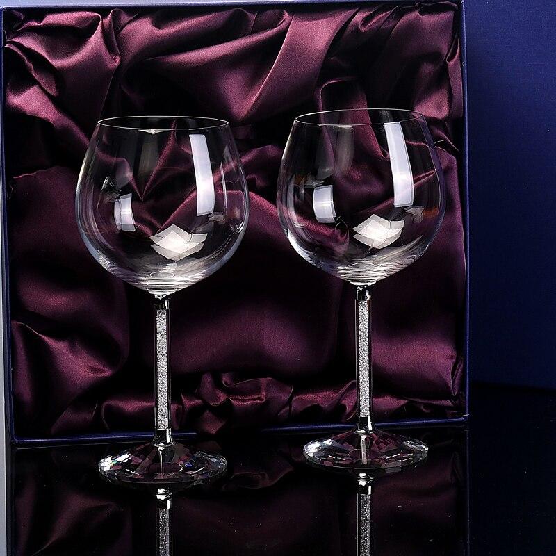 Europe high quality crystal glass wine glass Large goblet Lead-free Diamond Burgundy glass Cup Wedding Gift box set drinkware
