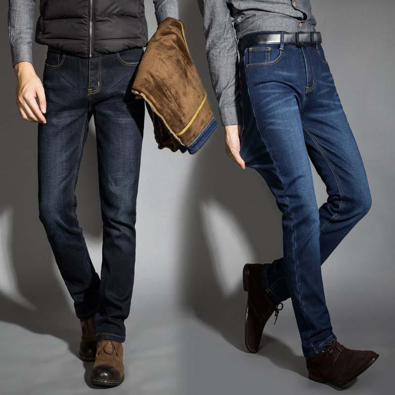 Новинка 2019, мужские теплые джинсы высокого качества от известного бренда, осенне-зимние джинсы, теплые мягкие мужские джинсы с флокирование...