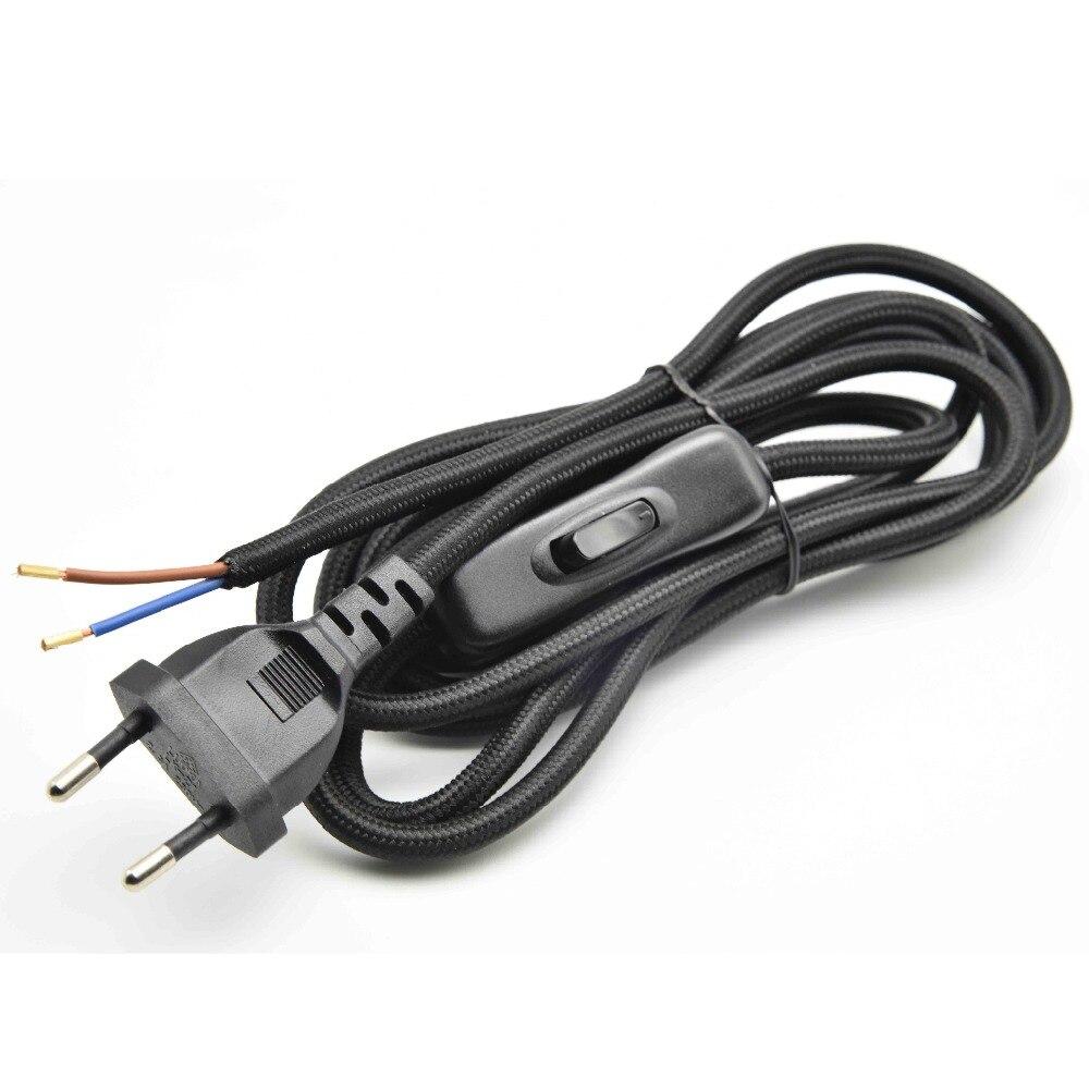 1.8 m 2x0. 75mm2 interruptor da lâmpada fio ue plugue ac cabo de alimentação da lâmpada com 304 interruptor de ligar/desligar piso iluminação push botton switch cabo 1 pc