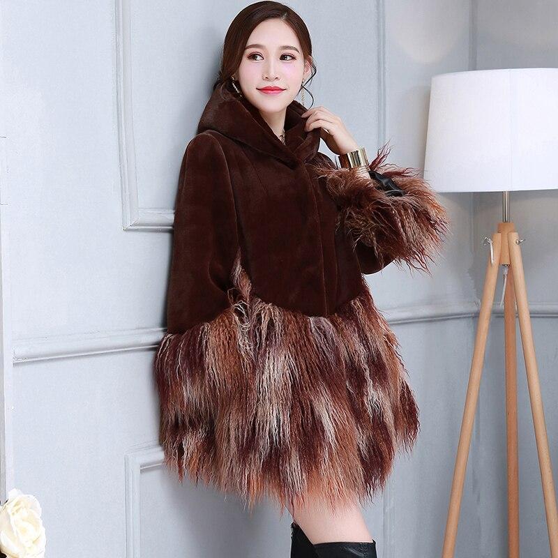 nerazzurri Winter faux fur coat women with hood warm furry fluffy fake fur jacket plus large size patchwork fur outwear 5xl 6xl