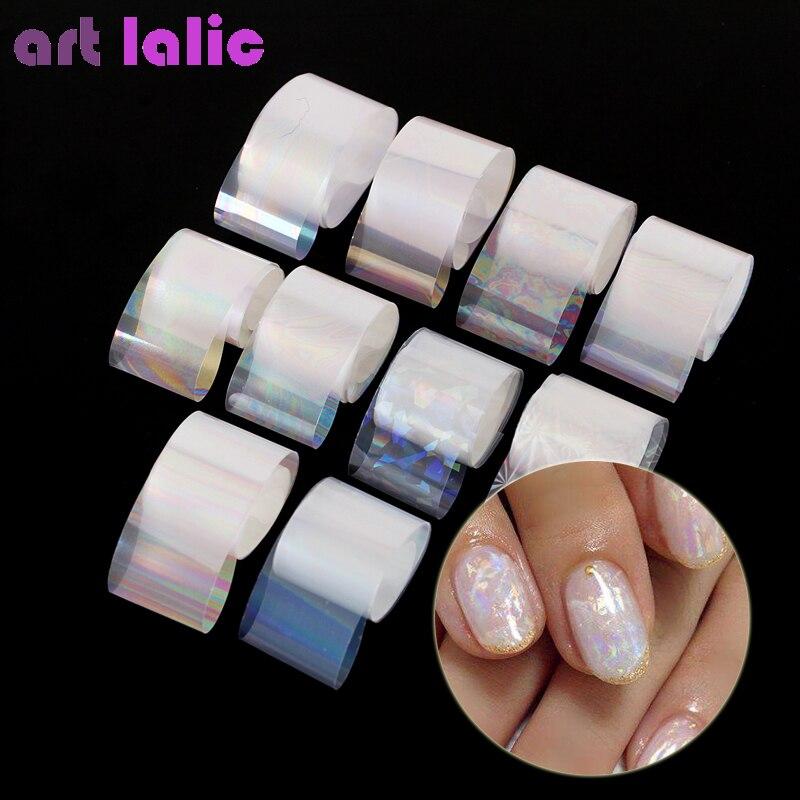 10 Rolls / Box Holographic Nail Foil Set 2.5*100cm Gradient  Transparent AB Color Transfer Sticker Manicure Nail Art Decals 10pcs holographic nail foil set transparent ab color transfer sticker decorations 2 5 100cm mix designs manicure nail art decals